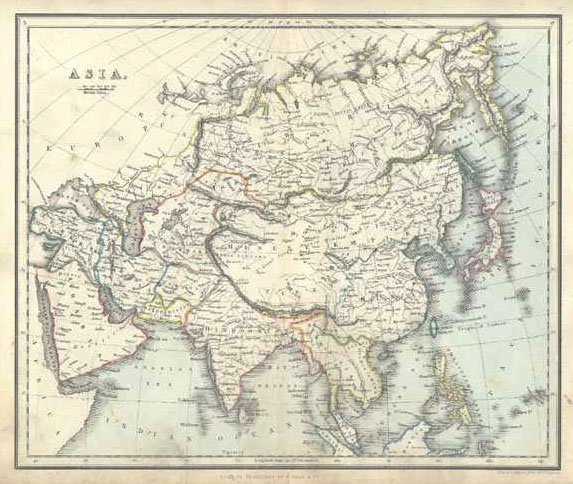 Asia Antique Map by Alex Findlay & W. Tegg. c1853