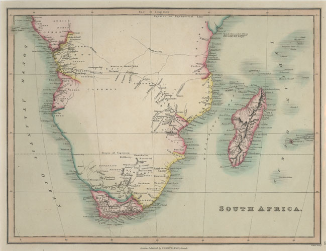 Antique map of South Africa & Madagascar. Smith c1837