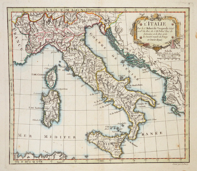 L'Italie. Antique map of Italy by Robert de Vaugondy c1758.