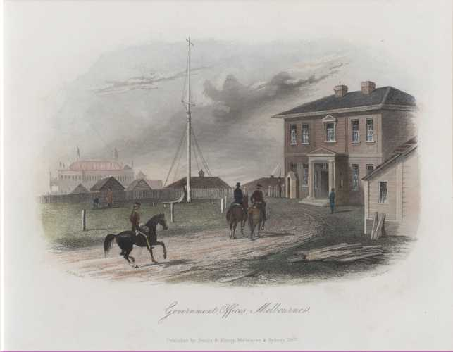 Government Offices, Melbourne. ST Gill Victoria engraving c1857