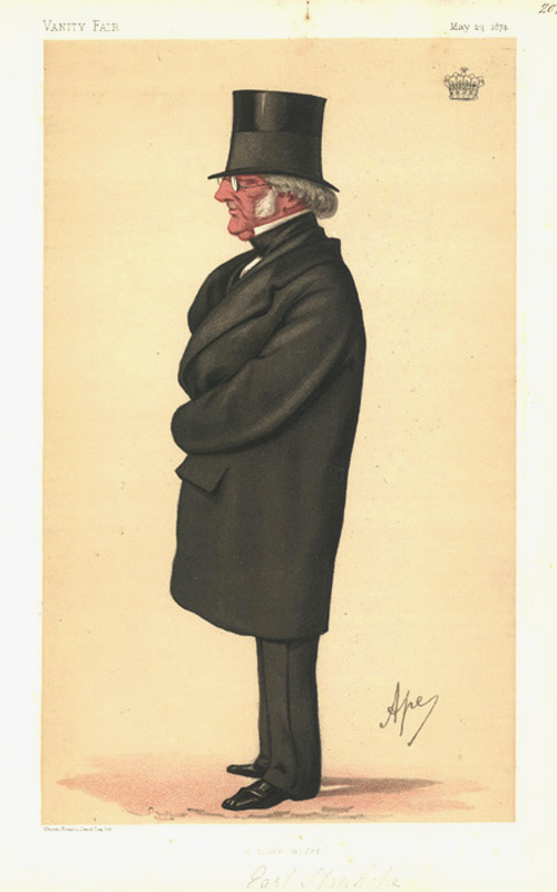"""a noble writer"" Vanity Fair caricature by Ape: Philip-Henry Stanhope, Earl Stanhope. c1874."