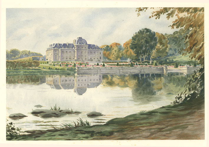 French watercolour, 19th century. Chateau de Voisins, lake and gardens