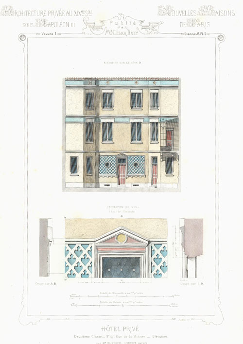 Daly French Private Hotel architectural elevation engraving c1864.