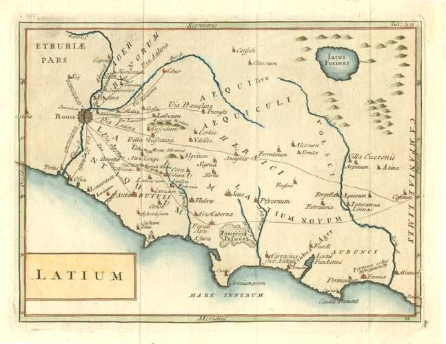 Latium. District of Rome in Latin. Antique Map by Cellarius c1779.