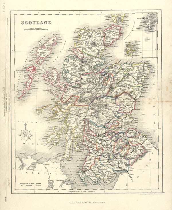 Antique map of Scotland, Shetland Isles, Orkney Isles. Archer c1850