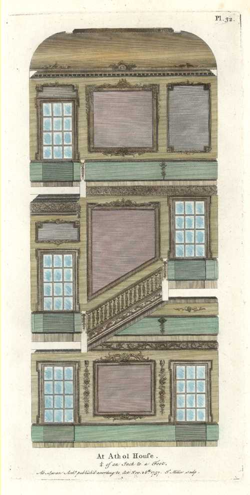 English Interior, Athol House. 3 level architectural cross-section. Swan c1757