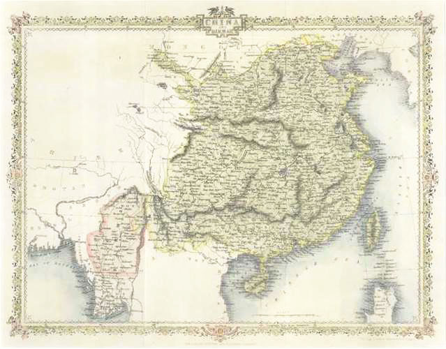 Antique map of China and Birmah (Burma or Myanmar) c1860