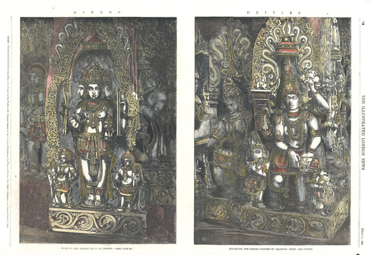 Hindoo Deities. Hindu Deities Trimurti and Suraswati. Engraving c1858