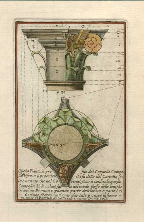 Giacomo Barozzi da Vignola Architectural Engraving of Composite Capital and Cross-Section. c1764