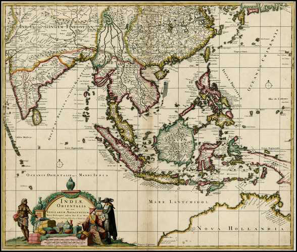 Indiae Orientalis. South-east Asia & northern Australia fine antique map. Visscher, c1726.
