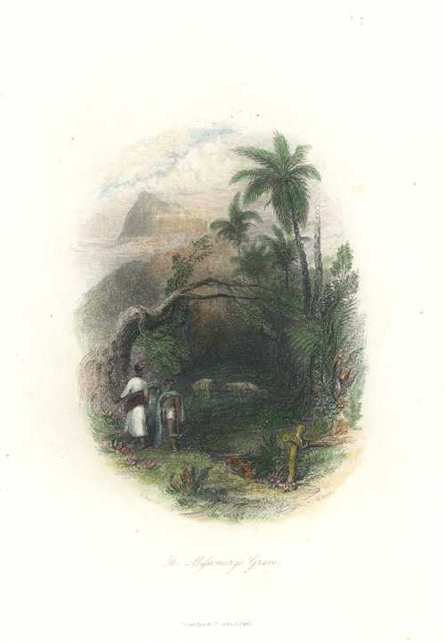 The Missionary's Grave. 'The Mifsionary's Grave' antique print c1846