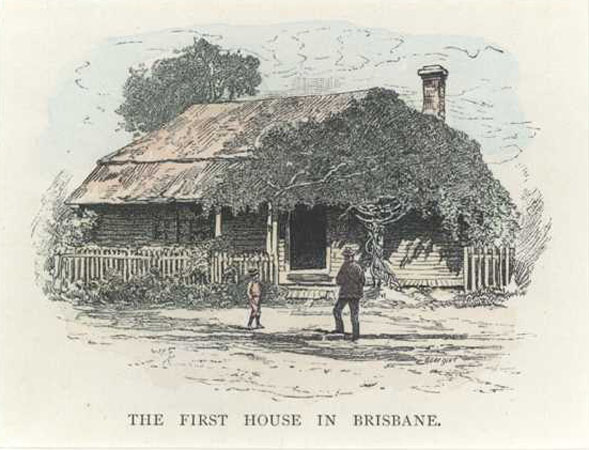 Brisbane. First House in Brisbane, Queensland. Antique engraving c1886