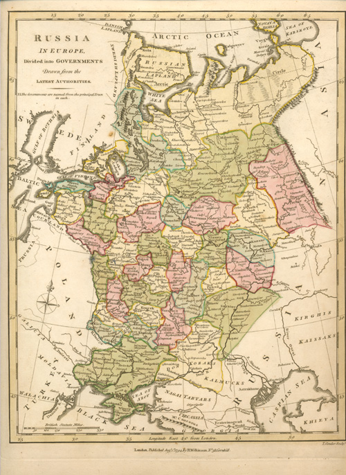 Antique Map of Russia divided into Governments. Wilkinson c1794.