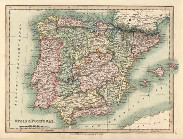 Spain & Portugal Antique Map by C. Smith c1836