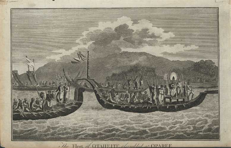 Tahiti. Fleet of Otaheite assembled at Oparee. Cook c1780