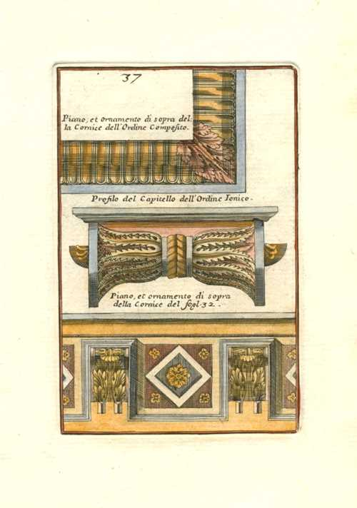 Iacomo Barozzi da Vignola Architectural engraving of Composite & Ionic Capital and Cornice profiles, c1764
