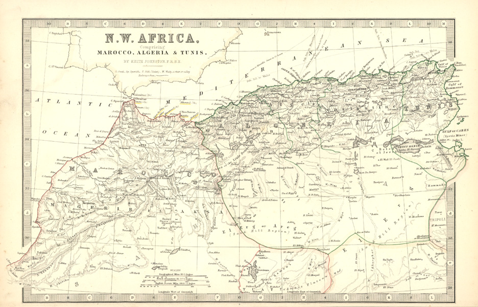 NW Africa comprising Marocco, Algeria & Tunis by Keith Johnston c