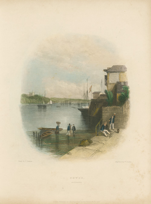 Cowes, Hampshire, English seaport and yacht-racing haven. Finden c1840.