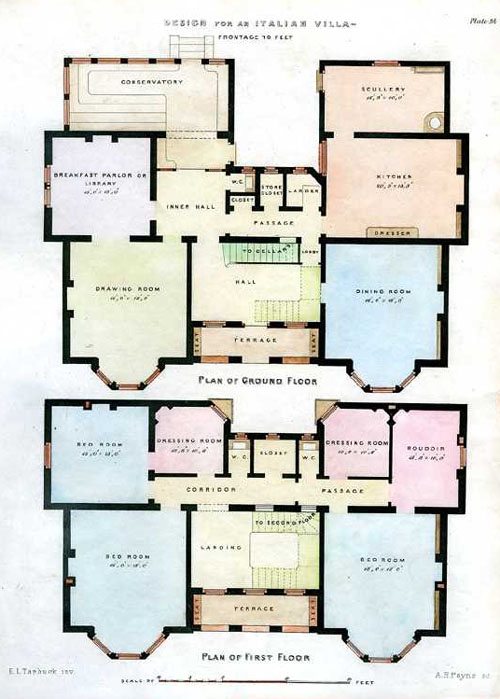 Antique print club italian villa floorplans payne for Italian villa floor plans