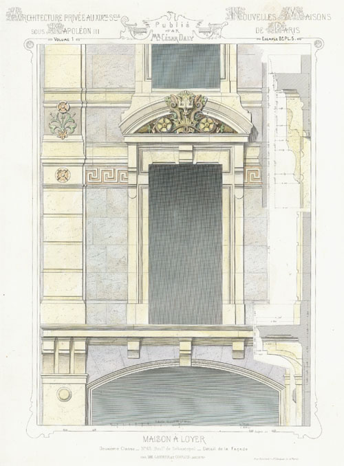 Cesar Daly. French House for Rent. Elevation detail c1864
