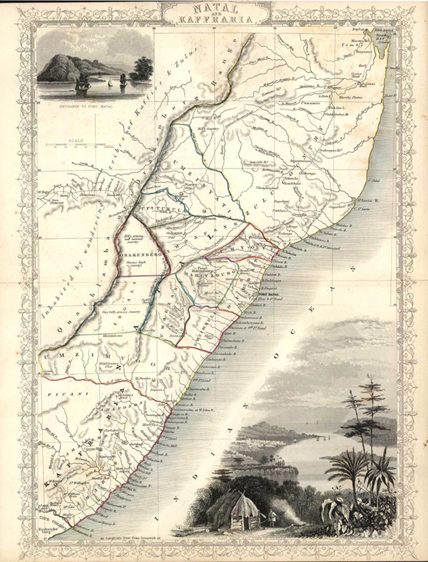 Antique Map of Africa. Natal and Kaffraria, c1854.