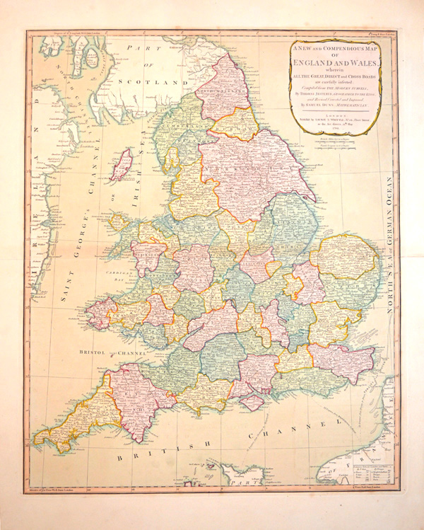 Laurie & Whittle. England and Wales, Great, Direct & Cross Roads. c1794