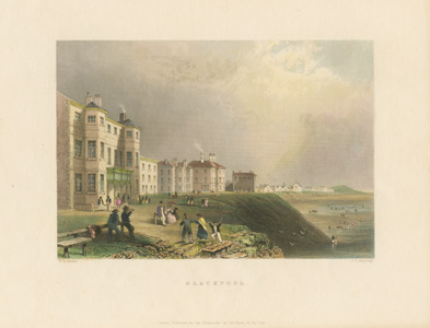Blackpool, seaside resort scene by W.H. Bartlett. Finden c1840