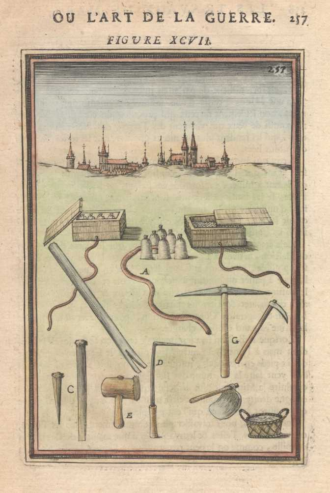 Tools used in Building Fort Walls. Mallet Antique Print c1684