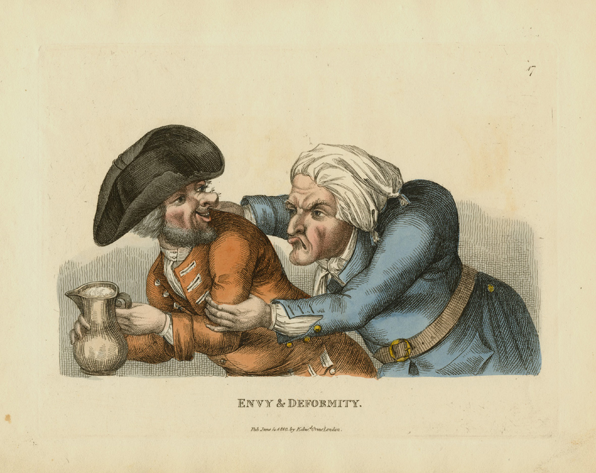 Envy & Deformity. Bobbin's caricature published by Edward Orme c1810