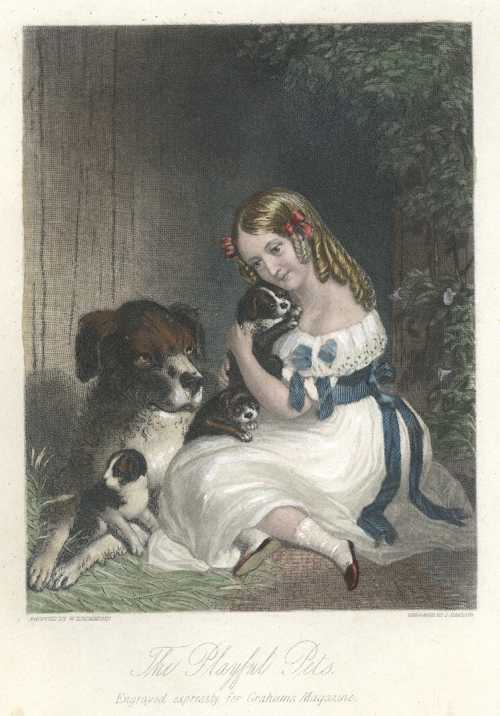 Dog & pups with girl. The Playful Pets, after Drummond c1842