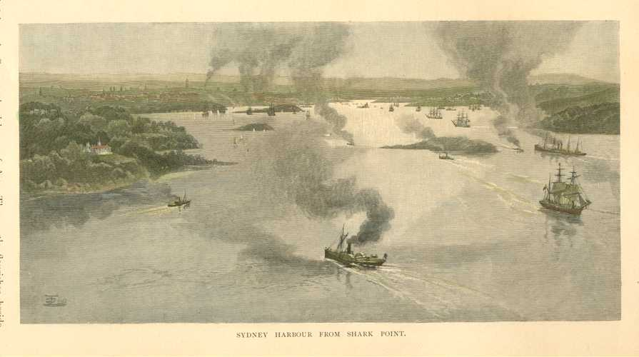Sydney Harbour from Shark Point, looking up Sydney Harbour c1886