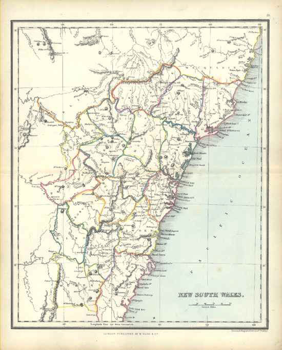 new south wales antique map by alex findlay published by w tegg c1853