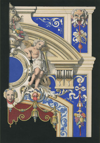 Putti & Rococo Door surrounds, superbly hand-coloured engraving.