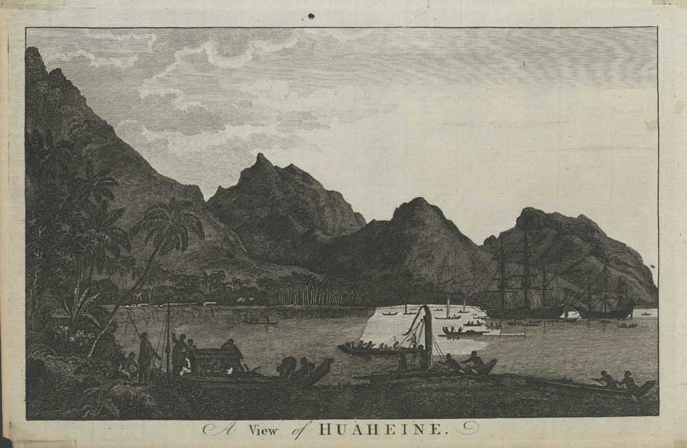 Tahiti View of Huaheine (Huahine). Cook engraving c1780