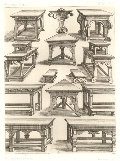 Vredeman de Vriese designed Tables, Chairs, Stools. Rapilly c1863