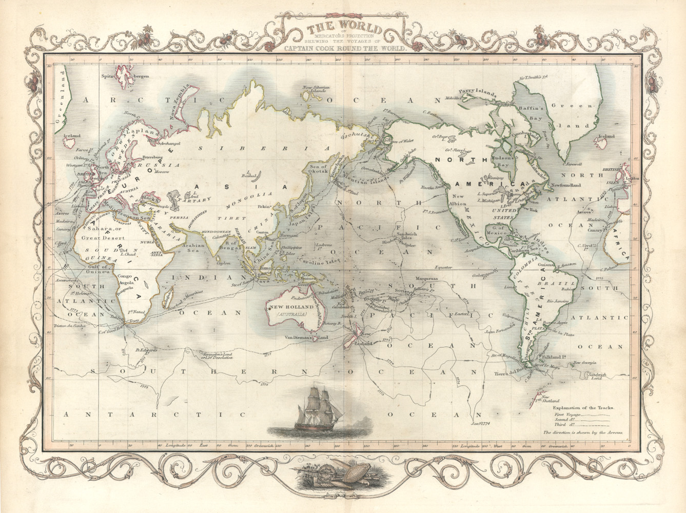 Voyages of Captain Cook Round the World. Tallis c1851