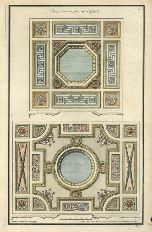 18th Century ceiling sections by Deneufforges. Antique engraving c1765