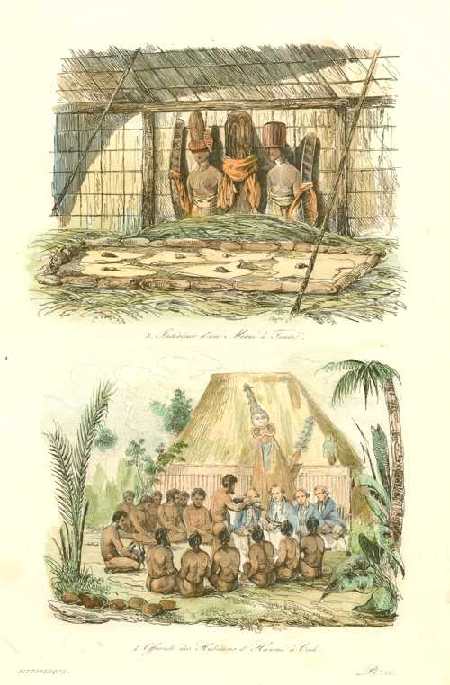 Hawaii. Morai a Tauai. Offering to Captain Cook. Antique Print c1834