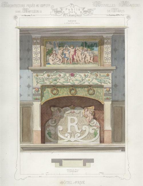 "French Private Hotel Fireplace with ""R"". Cesar Daly c1864"