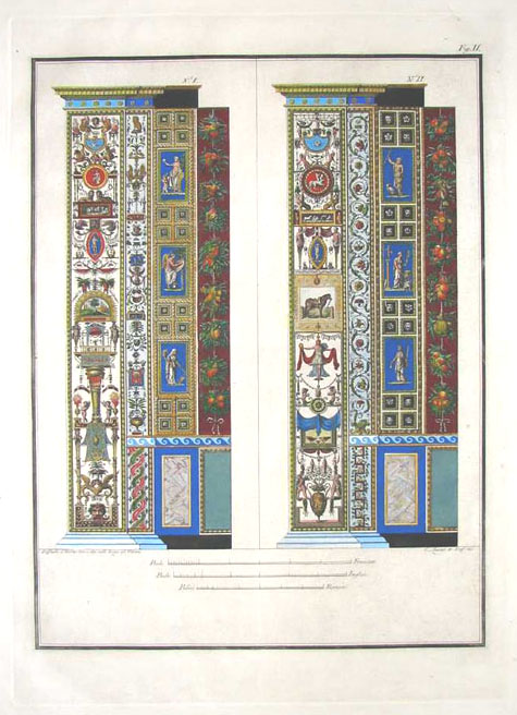 Pair of exquisitely-detailed Raphael Pilaster frescoes. Pl.2 engraved c1800