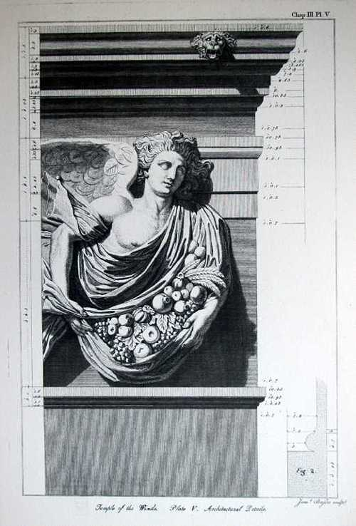 Architecture Print. Temple of the Winds. Plate V. Architectural Details.