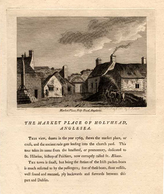 Market Place, Holyhead, Anglesea in Wales. (Market Cross) Grose, c1785