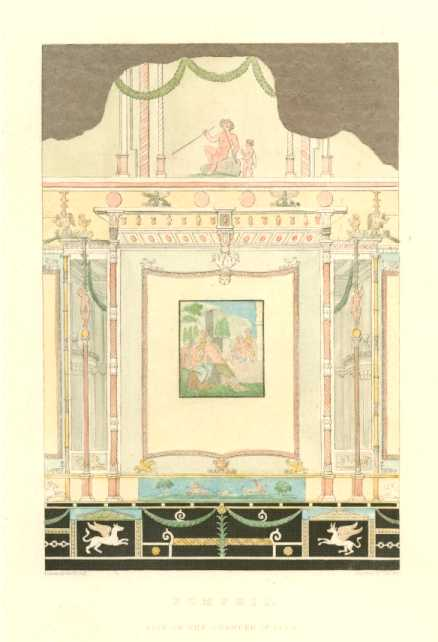 Pompeii fresco: Side of the Chamber of Leita. Antique Print c1817