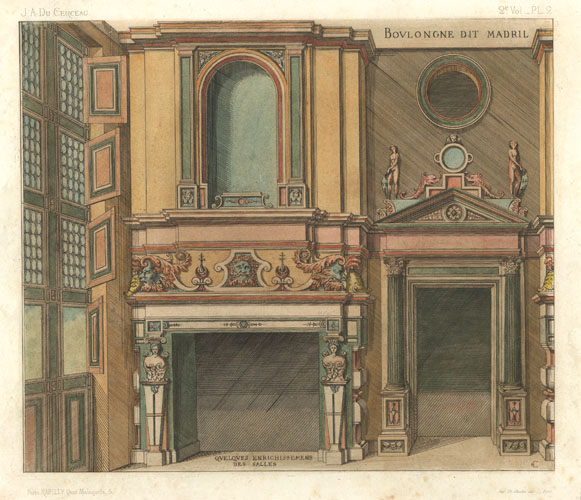 Fireplace ornamentation with interesting windows. Du Cerceau engraving c1863