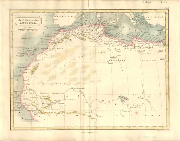 Africa antiqua. North-west Africa antique Map. S.Hall c1860