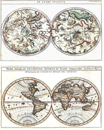 Celestial and Terrestrial World Maps. De l'Isle c1729.