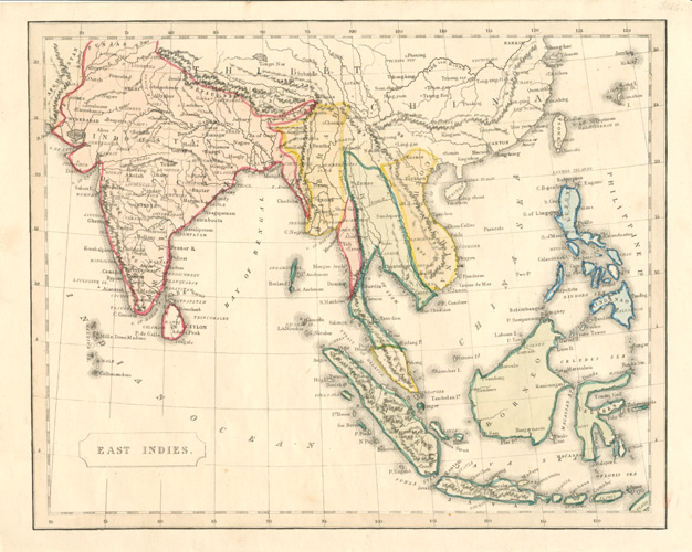 East Indies antique map c1856 by F.P. Becker omnigraph.