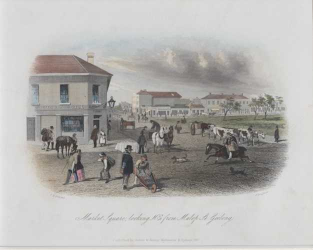 Geelong. Market Square from Malop St, Geelong. STGill Antique Print c1857
