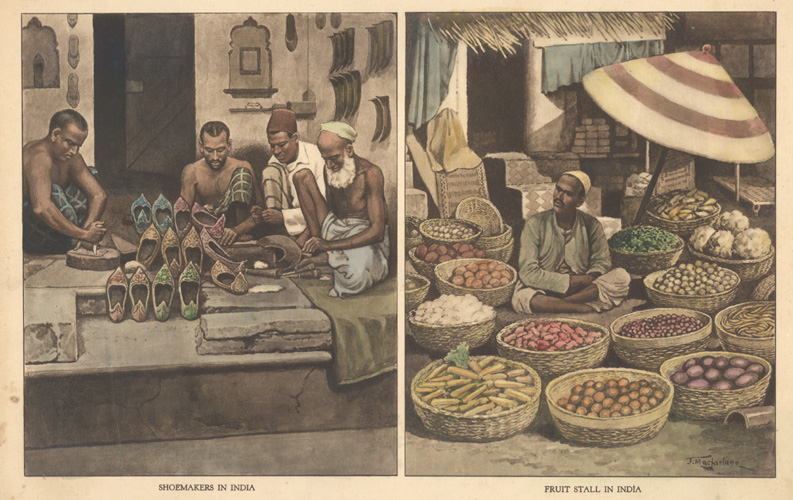 Shoemakers in India, Fruit Stall in India. c1890