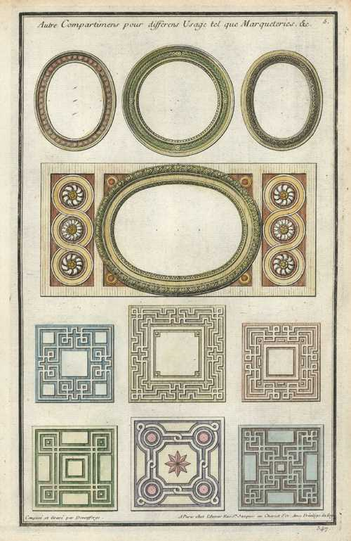 Deneufforge French Designs for Marquetry.. Antique Print c1760